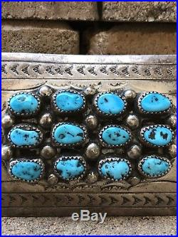 Vintage Old Navajo Sleeping Beauty Turquoise Stamped Sterling Silver Belt Buckle