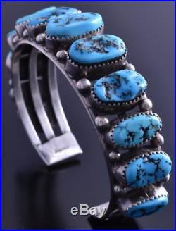 Vintage Old Pawn Silver Sleeping Beauty Full Top Turquoise Men's Bracelet 7L14R