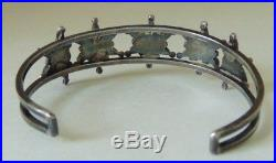 Vintage Old Pawn Sterling 925 Sleeping Beauty Coral Navajo Cuff Bracelet