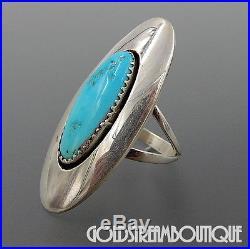 Vintage Sadie Sam Navajo 925 Silver Sleeping Beauty Turquoise Shadowbox Ring 6.5