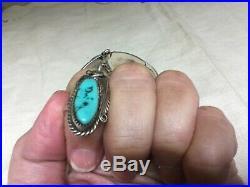 Vintage Sign Justin Morris Sleeping Beauty Turquoise Sterling Slave Bracelet