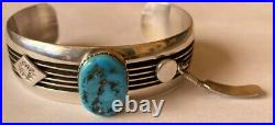 Vintage Signed Navajo Sterling Silver Sleeping Beauty Turquoise Cuff Bracelet