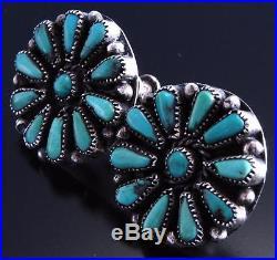 Vintage Silver Sleeping Beauty Turquoise Navajo Cluster Screwback Earrings 7F30W