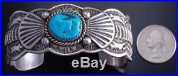 Vintage Silver Sleeping Beauty Turquoise Navajo Concho Men's Bracelet JB 7J24V