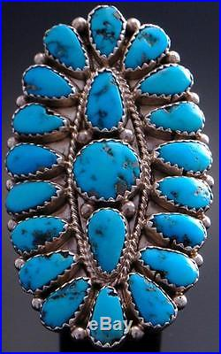 Vintage Size 8-3/4 Silver Many Sleeping Beauty Turquoise Navajo Ring JSW 7C27P