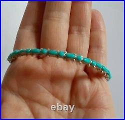 Vintage Sleeping Beauty Turquoise Navajo Bangle Bracelet St. Silver Signed