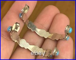 Vintage Sleeping Beauty Turquoise Petit Point Hoop Earrings Sterling Silver Zuni