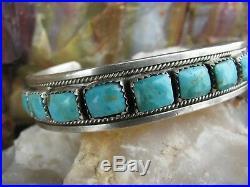 Vintage Sleeping Beauty Turquoise Row Bracelet Sterling Silver Navajo Pawn