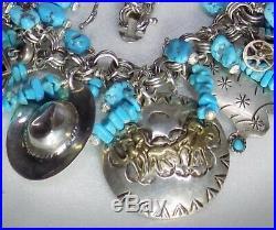 Vintage Southwestern Sterling Cowboy Sleeping Beauty+ Kingman Turquoise Bracelet