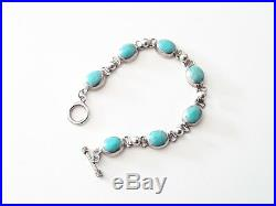Vintage Southwestern Sterling Silver Sleeping Beauty Turquoise Link Bracelet