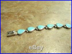 Vintage Southwestern Sterling Sleeping Beauty Turquoise TEARDROP LINK Bracelet