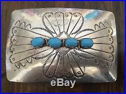 Vintage Stamped Navajo Sleeping Beauty Turquoise & Sterling Silver Belt Buckle
