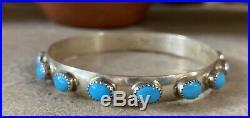 Vintage Sterling 16 Sleeping Beauty Turquoise Circle Navajo Bangle signed LB