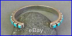 Vintage Sterling Hallmarked Square Sleeping Beauty Turquoise Row Cuff Bracelet