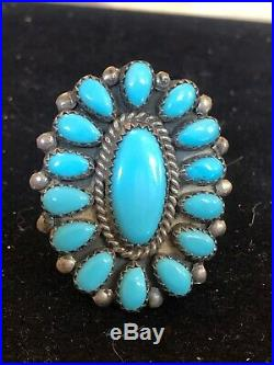 Vintage Sterling Native American Sleeping Beauty Turquoise Ring Zuni Signed Ab
