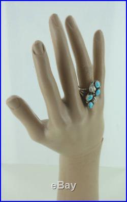 Vintage Sterling Navajo Ella Cowboy Sleeping Beauty Turquoise Ring 7.5