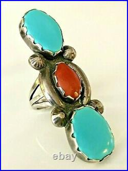 Vintage Sterling Silver LONG 2.25 Sleeping Beauty Turquoise & Coral Ring 925