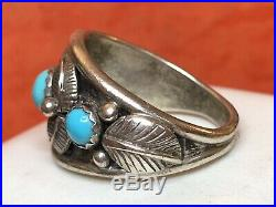 Vintage Sterling Silver Native American Turquoise Sleeping Beauty Ring Men's