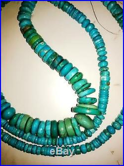 Vintage Tibetian, Sleeping Beauty, Mix Turquoise Graduated Beaded Necklace 374 Gr