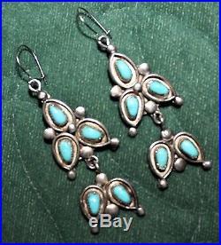 Vintage Zuni Leonard & Lula Weebothee Sleeping Beauty Turquoise Drop Earrings