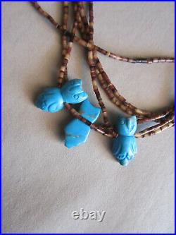 Vintage Zuni Native Sleeping Beauty Turquoise Heishi Owl Fetish Necklace