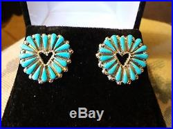 Vintage Zuni Sleeping Beauty Turquoise Heart Sterling Silver Earrings
