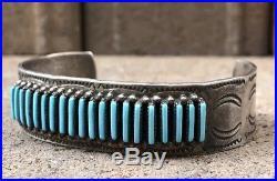 Vintage Zuni Sleeping Beauty Turquoise Needlepoint Sterling Silver Cuff Bracelet