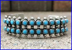 Vintage Zuni Sleeping Beauty Turquoise Petit Point Sterling Silver Cuff Bracelet