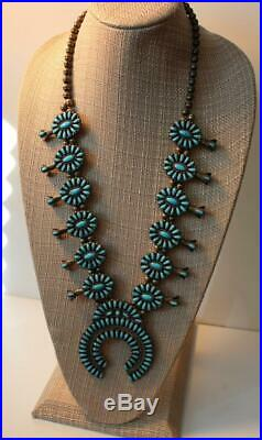 Vintage Zuni Sleeping Beauty Turquoise Squash Blossom Necklace Signed/sterling