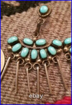 Vintage Zuni Sleeping Beauty Turquoise Sterling Silver Dangle Earrings Signed