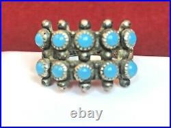 Vintage Zuni Snake Eye Turquoise Ring Silver Native American BELL TRADING 1932