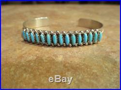 Vintage Zuni Sterling Silver Sleeping Beauty PETIT POINT Turquoise Row Bracelet
