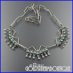 Vintage Zuni Sterling Silver Sleeping Beauty Snake Eye Turquoise Necklace #2281