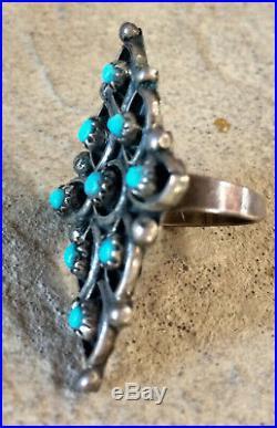 Vintage Zuni Sterling Silver Snake-eye Sleeping Beauty Turquoise RIng