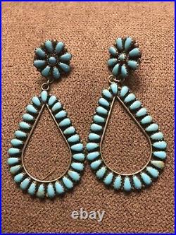 Vintage Zuni Turquoise Petit Point Sleeping Beauty Earrings Sterling Silver