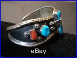 Vntg Old Pawn Zuni Sleeping Beauty-Coral-Sterling Cuff Bracelet Milton Lasiloo