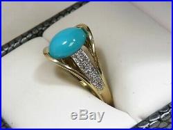 Vtg 14K Yellow Gold 2ct SLEEPING BEAUTY Turquoise & Diamond Accent Ring Sz 5.5