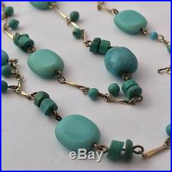 Vtg 54 Sleeping Beauty Turquoise & Glass Bead Gold Bar Long Chain Yard Necklace
