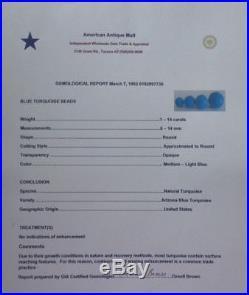 Vtg Arizona Sleeping Beauty Round 6 mm Beads 16 Strand