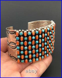 Vtg Dee Nez Navajo Sleeping Beauty Turquoise Spiny Oyster Sterling Cuff Bracelet