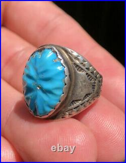 Vtg Fred Harvey Era Navajo Sterling Silver Carved Sleeping Beauty Turquoise Ring