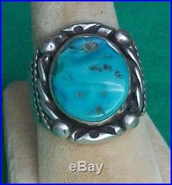 Vtg Herbert Pino HP Sterling Silver Ring Navajo Indian Sleeping Beauty Turquoise