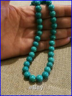 Vtg NATURAL SLEEPING BEAUTY TURQUOISE beads great Gatsby NECKLACE 9ct GOLD 17.5