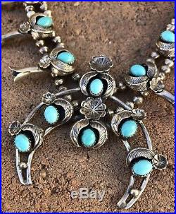 Vtg NAVAJO Sterling Silver Sleeping Beauty Turquoise SQUASH BLOSSOM Necklace