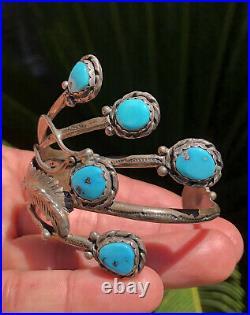 Vtg Navajo FNE Platero Sleeping Beauty Turquoise Sterling Silver Cuff Bracelet