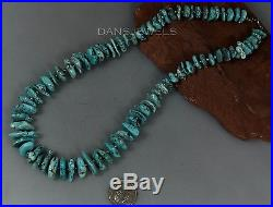 Vtg Navajo SLEEPING BEAUTY TURQUOISE Nugget Sterling Silver NECKLACE