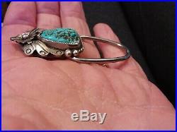 Vtg Navajo Sleeping Beauty Turquoise Sterling Silver Flower Blossom Key Chain