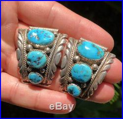 Vtg Navajo Stamped Sterling Silver Sleeping Beauty Turquoise Men's Watch Tips