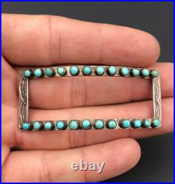 Vtg Navajo Sterling Petit Point Sleeping Beauty Turquoise Hair BARRETTE Clip