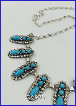 Vtg Navajo Sterling Silver Blue Sleeping Beauty Turquoise Collar Bib Necklace